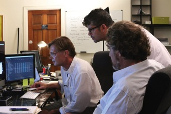 "According to the Vaxxed website, ""Director Andrew Wakefield (left), Editor Brian Burrows (middle), and Producer Del Bigtree (Right) review the data from the CDC Autism/MMR study."" © Andrew Debosz/Vaxxed From Cover-up to Catastrophe"