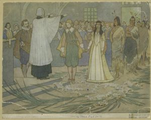 painting of Pocahontas marrying John Rolfe