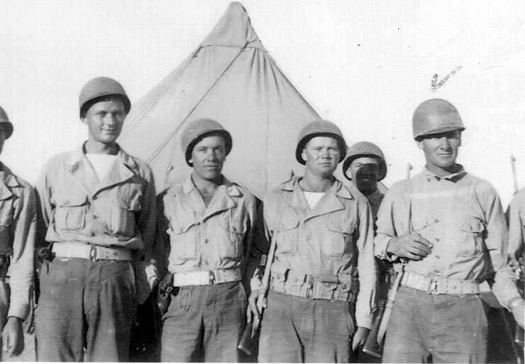 Cyril Young in training in 1943 (location may be in Texas). Young is far right; he was in the 357th Infantry of the 90th Division. Photo is used with permission from Ralph Young.Cyril Young in training in 1943 (location may be in Texas). Young is far right; he was in the 357th Infantry of the 90th Division. Photo is used with permission from Ralph Young.