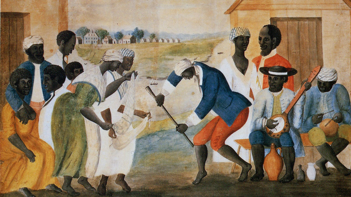 Picture of a painting depicting American slaves dancing on a plantation.